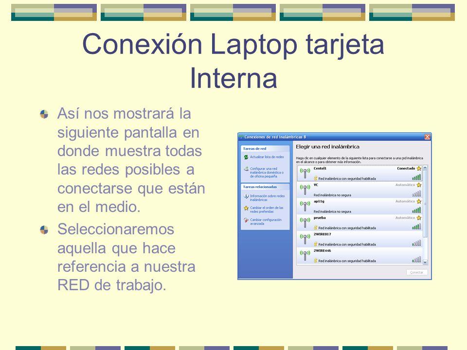 Conexión Laptop tarjeta Interna Así nos mostrará la siguiente pantalla en donde muestra todas las redes posibles a conectarse que están en el medio. S