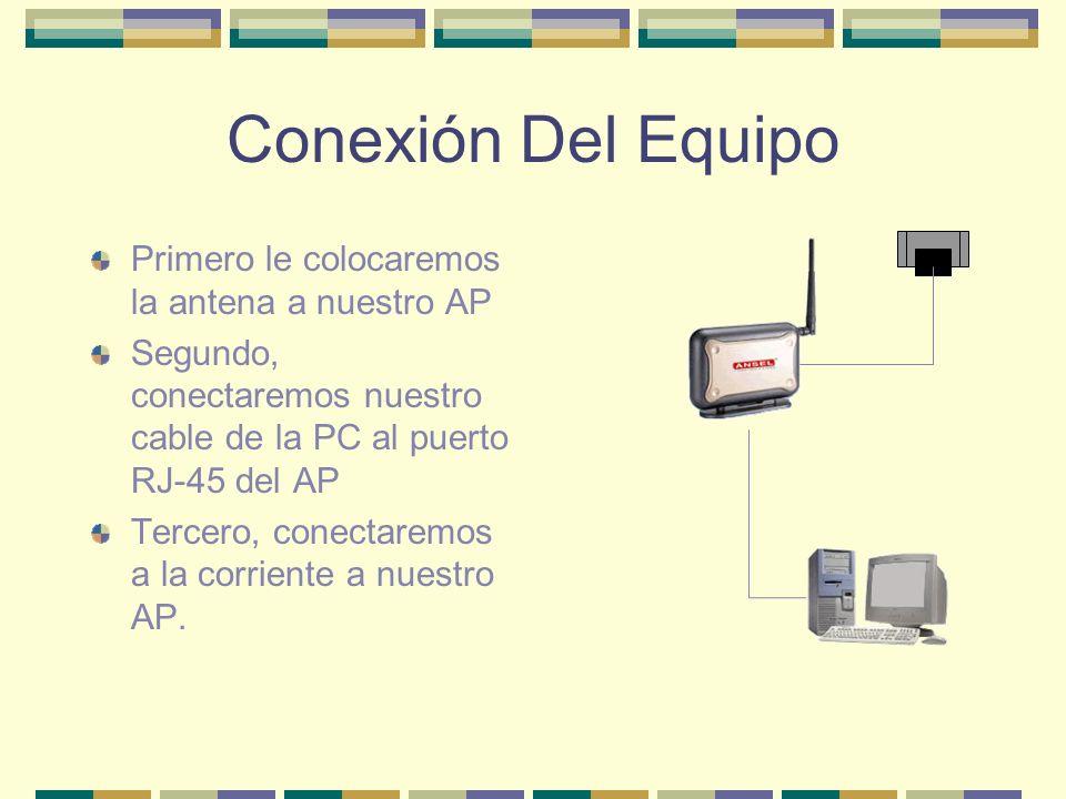 Conexión Del Equipo Primero le colocaremos la antena a nuestro AP Segundo, conectaremos nuestro cable de la PC al puerto RJ-45 del AP Tercero, conecta