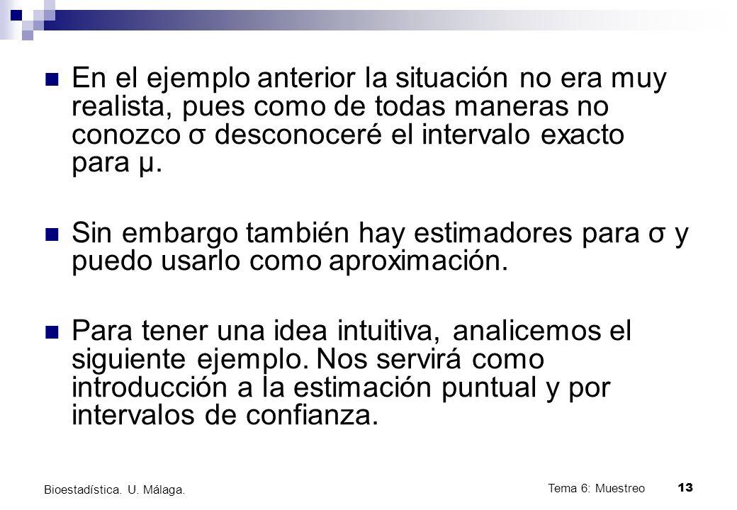 Tema 6: Muestreo13 Bioestadística.U. Málaga.