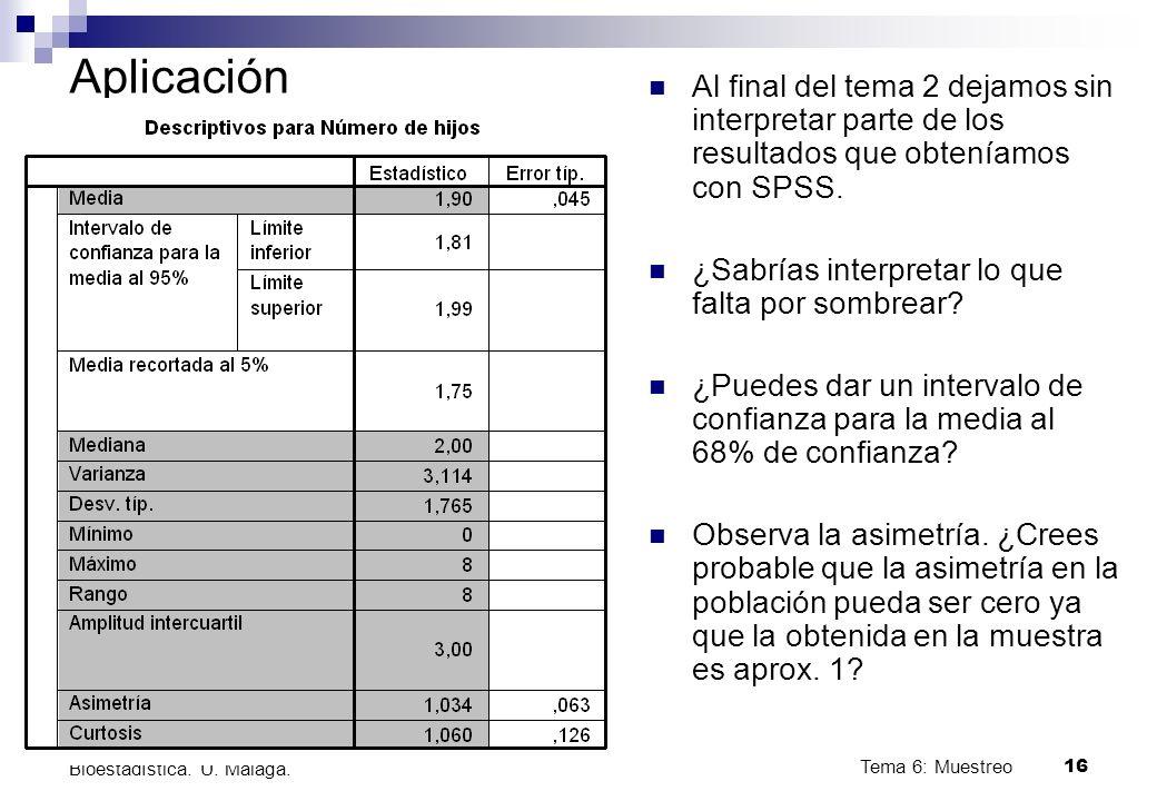 Tema 6: Muestreo16 Bioestadística.U. Málaga.