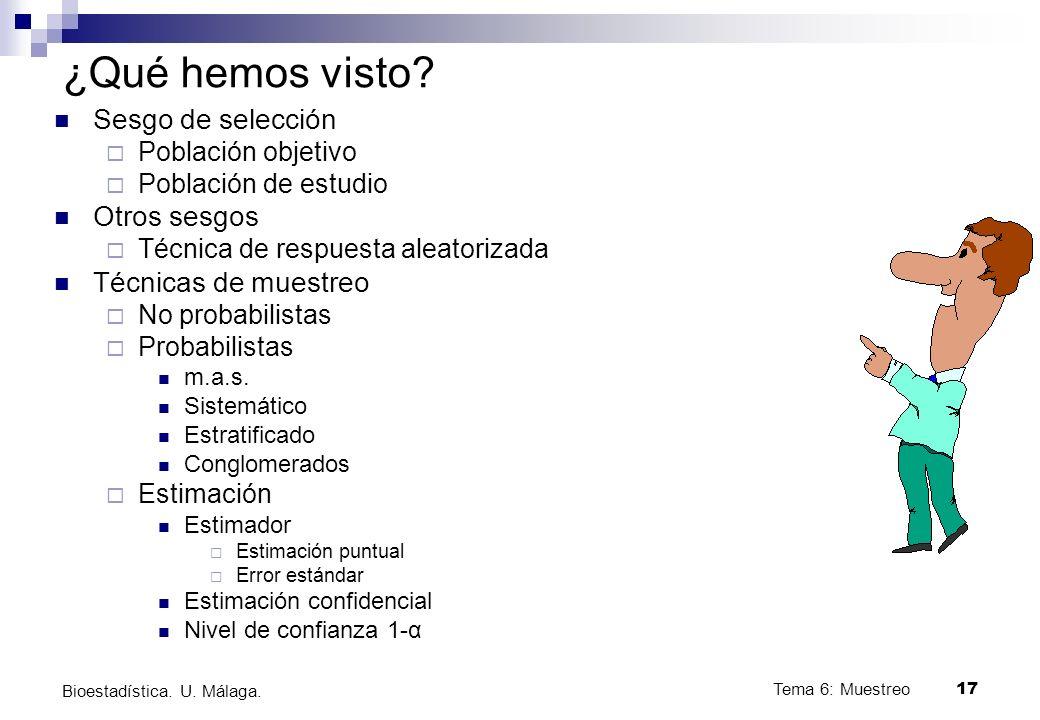Tema 6: Muestreo17 Bioestadística.U. Málaga. ¿Qué hemos visto.