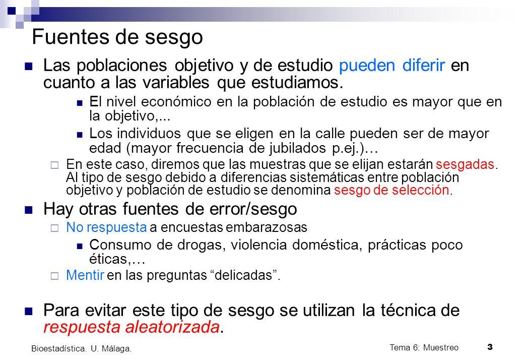 Tema 6: Muestreo3 Bioestadística.U. Málaga.