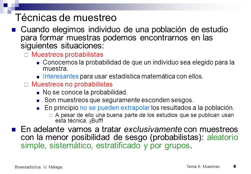 Tema 6: Muestreo6 Bioestadística.U. Málaga.