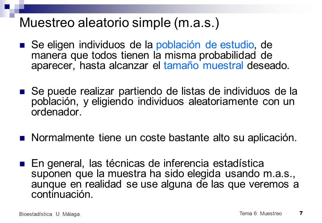 Tema 6: Muestreo7 Bioestadística.U. Málaga.