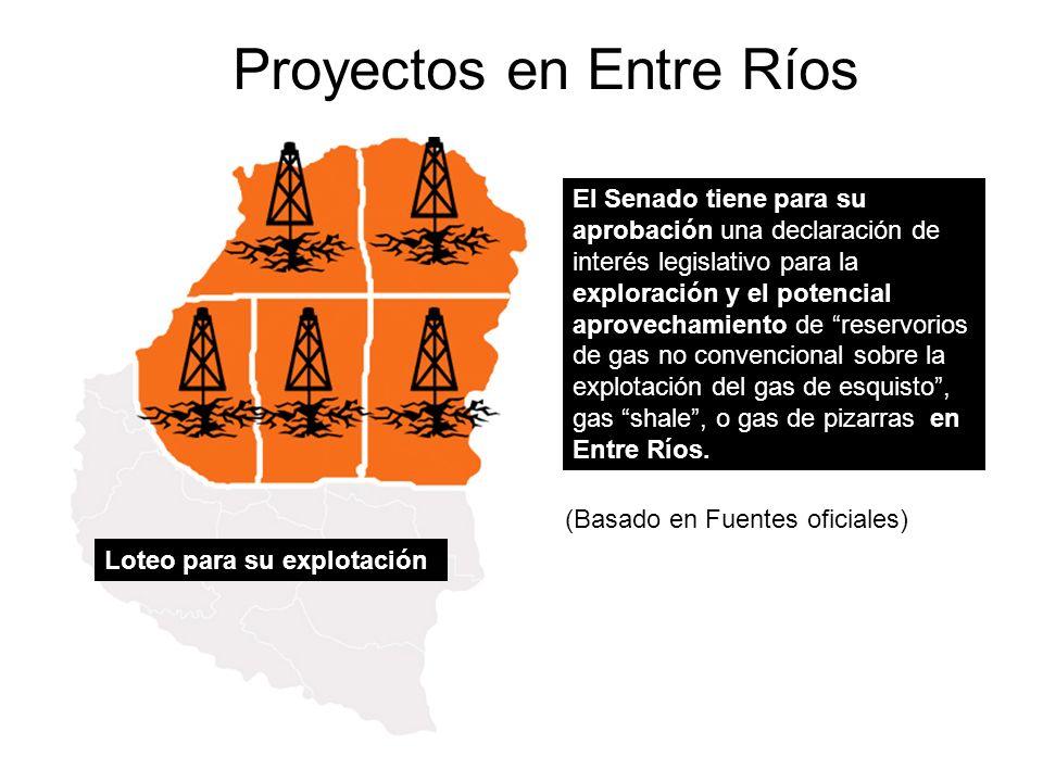 Proyectos en Entre Ríos El Senado tiene para su aprobación una declaración de interés legislativo para la exploración y el potencial aprovechamiento de reservorios de gas no convencional sobre la explotación del gas de esquisto, gas shale, o gas de pizarras en Entre Ríos.