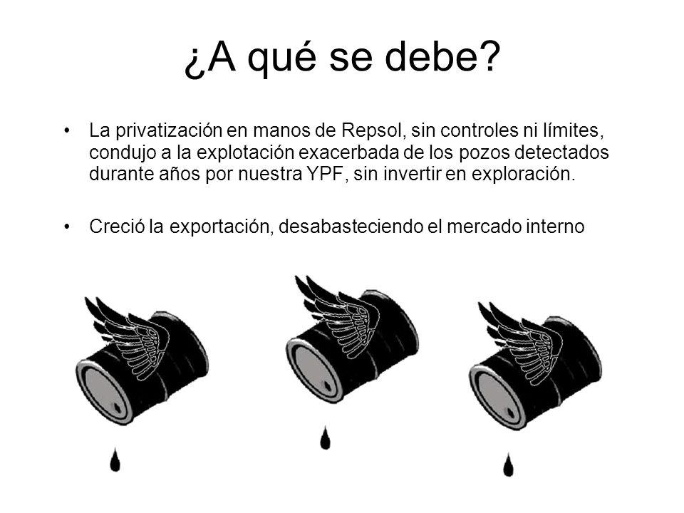 La privatización en manos de Repsol, sin controles ni límites, condujo a la explotación exacerbada de los pozos detectados durante años por nuestra YPF, sin invertir en exploración.