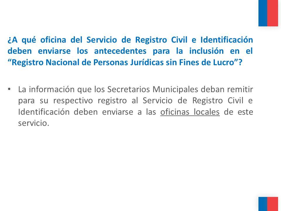 ¿A qué oficina del Servicio de Registro Civil e Identificación deben enviarse los antecedentes para la inclusión en el Registro Nacional de Personas J