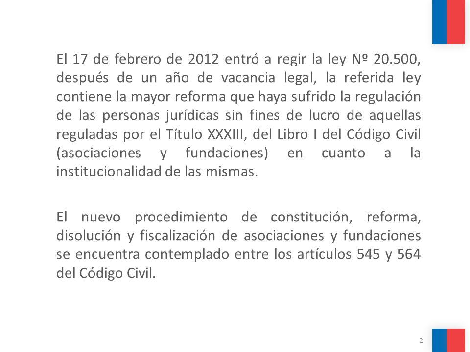 El 17 de febrero de 2012 entró a regir la ley Nº 20.500, después de un año de vacancia legal, la referida ley contiene la mayor reforma que haya sufri