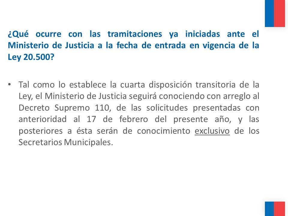 ¿Qué ocurre con las tramitaciones ya iniciadas ante el Ministerio de Justicia a la fecha de entrada en vigencia de la Ley 20.500? Tal como lo establec