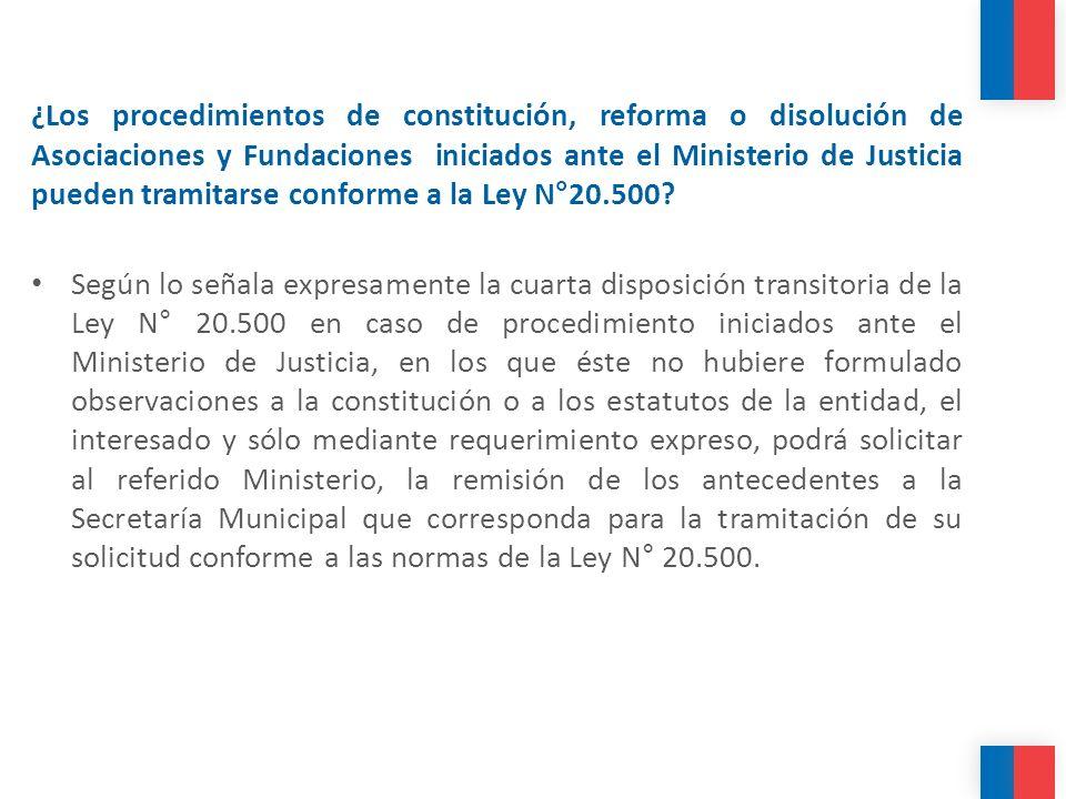 ¿Los procedimientos de constitución, reforma o disolución de Asociaciones y Fundaciones iniciados ante el Ministerio de Justicia pueden tramitarse con