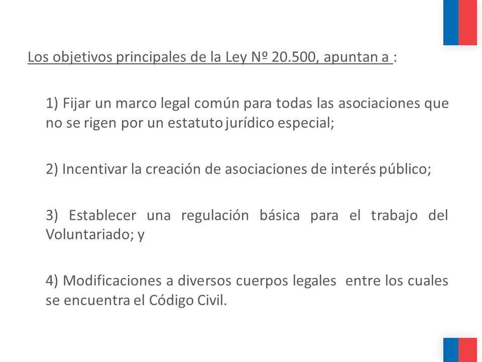 Los objetivos principales de la Ley Nº 20.500, apuntan a : 1) Fijar un marco legal común para todas las asociaciones que no se rigen por un estatuto j