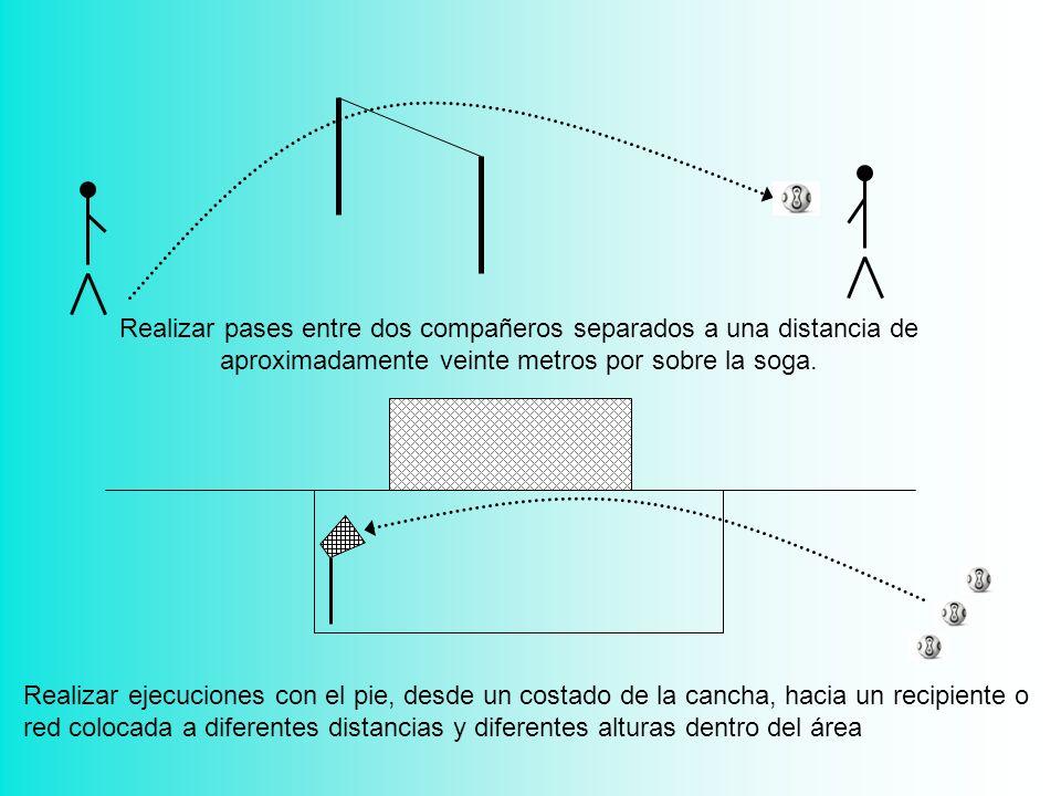 Realizar pases entre dos compañeros separados a una distancia de aproximadamente veinte metros por sobre la soga. Realizar ejecuciones con el pie, des