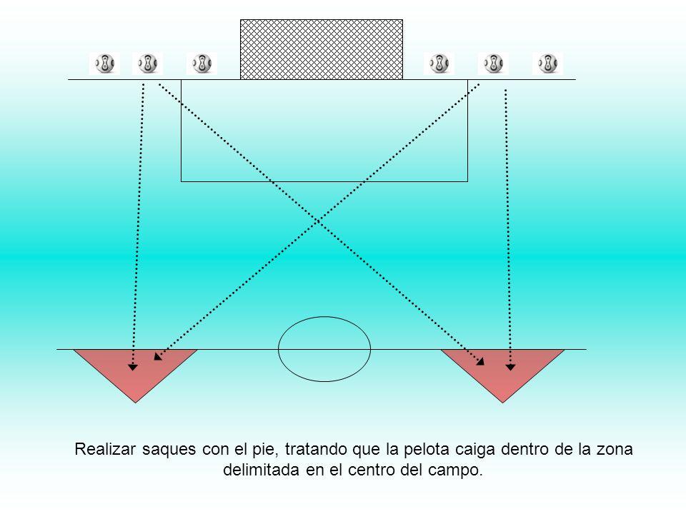 Realizar saques con el pie, tratando que la pelota caiga dentro de la zona delimitada en el centro del campo.