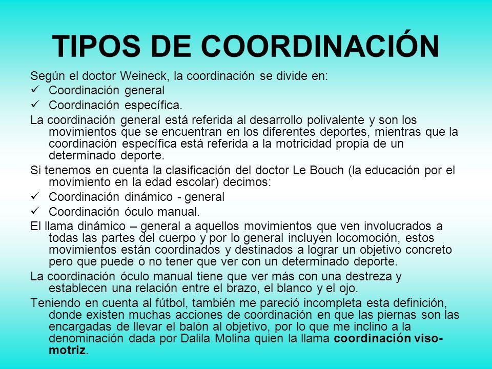 TIPOS DE COORDINACIÓN Según el doctor Weineck, la coordinación se divide en: Coordinación general Coordinación específica. La coordinación general est