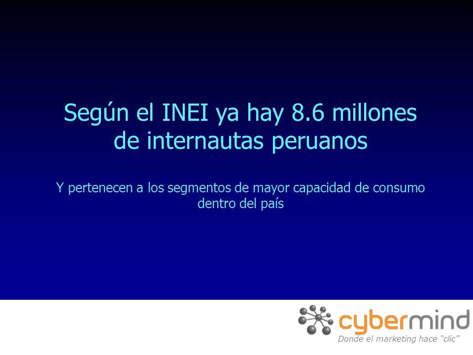 Según el INEI ya hay 8.6 millones de internautas peruanos Y pertenecen a los segmentos de mayor capacidad de consumo dentro del país