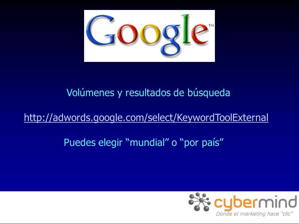 Volúmenes y resultados de búsqueda Donde el marketing hace clic Puedes elegir mundial o por país http://adwords.google.com/select/KeywordToolExternal