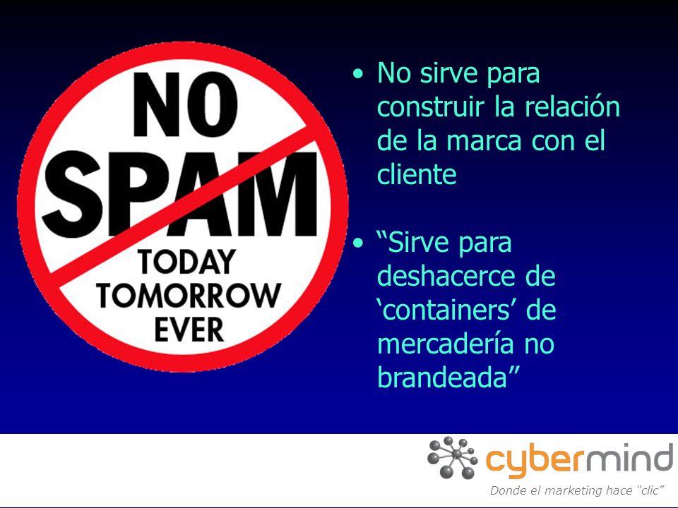 No sirve para construir la relación de la marca con el cliente Sirve para deshacerce de containers de mercadería no brandeada Donde el marketing hace