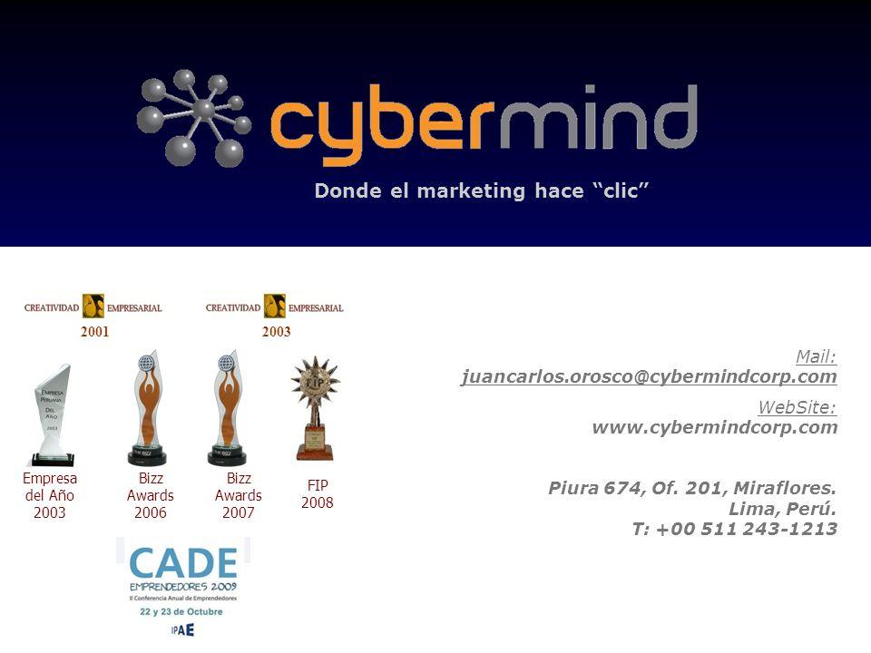 Donde el marketing hace clic 20012003 Empresa del Año 2003 Bizz Awards 2006 Bizz Awards 2007 FIP 2008 Mail: juancarlos.orosco@cybermindcorp.com WebSit