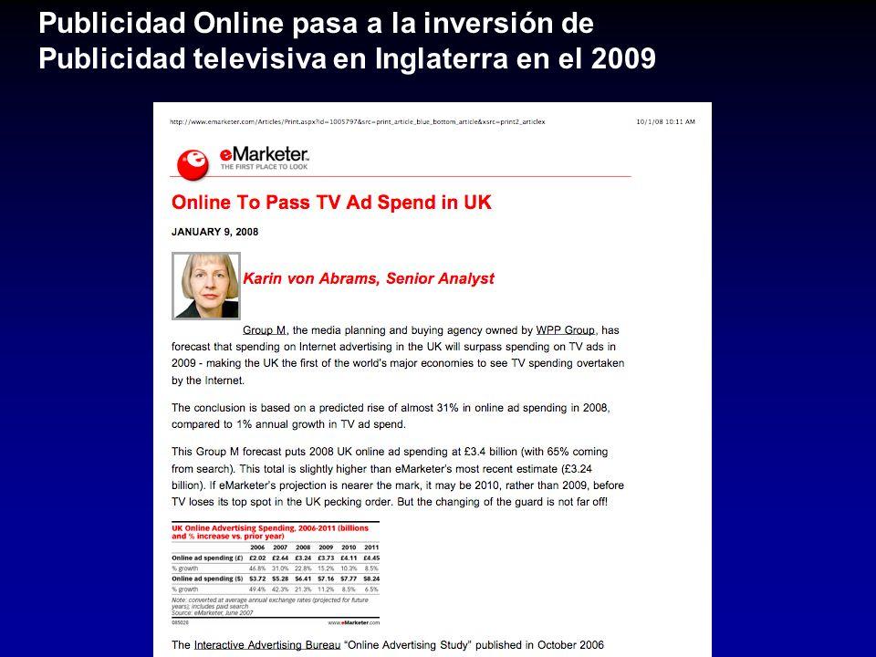 Publicidad Online pasa a la inversión de Publicidad televisiva en Inglaterra en el 2009