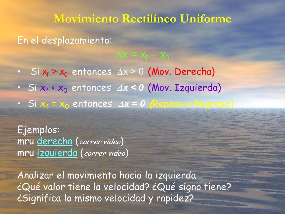 Movimiento Rectilíneo Uniforme En el desplazamiento: x = x f – x 0 Si x f > x 0 entonces x > 0 (Mov. Derecha) Si x f < x 0 entonces x < 0 (Mov. Izquie