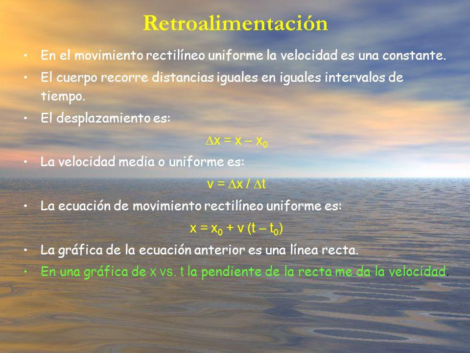 Retroalimentación En el movimiento rectilíneo uniforme la velocidad es una constante. El cuerpo recorre distancias iguales en iguales intervalos de ti