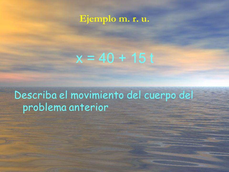 x = 40 + 15 t Describa el movimiento del cuerpo del problema anterior