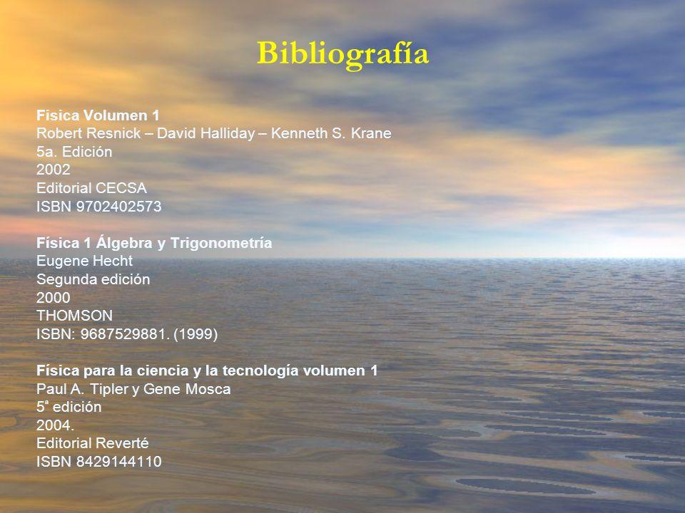 Fisica Volumen 1 Robert Resnick – David Halliday – Kenneth S. Krane 5a. Edición 2002 Editorial CECSA ISBN 9702402573 Física 1 Álgebra y Trigonometría