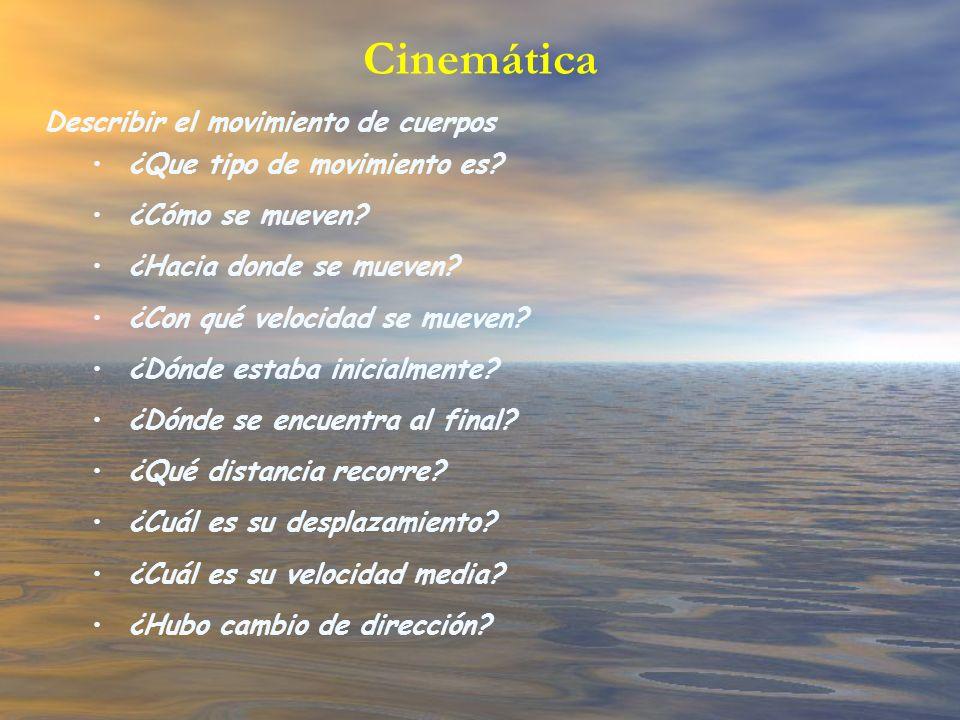 Cinemática Describir el movimiento de cuerpos ¿Que tipo de movimiento es? ¿Cómo se mueven? ¿Hacia donde se mueven? ¿Con qué velocidad se mueven? ¿Dónd