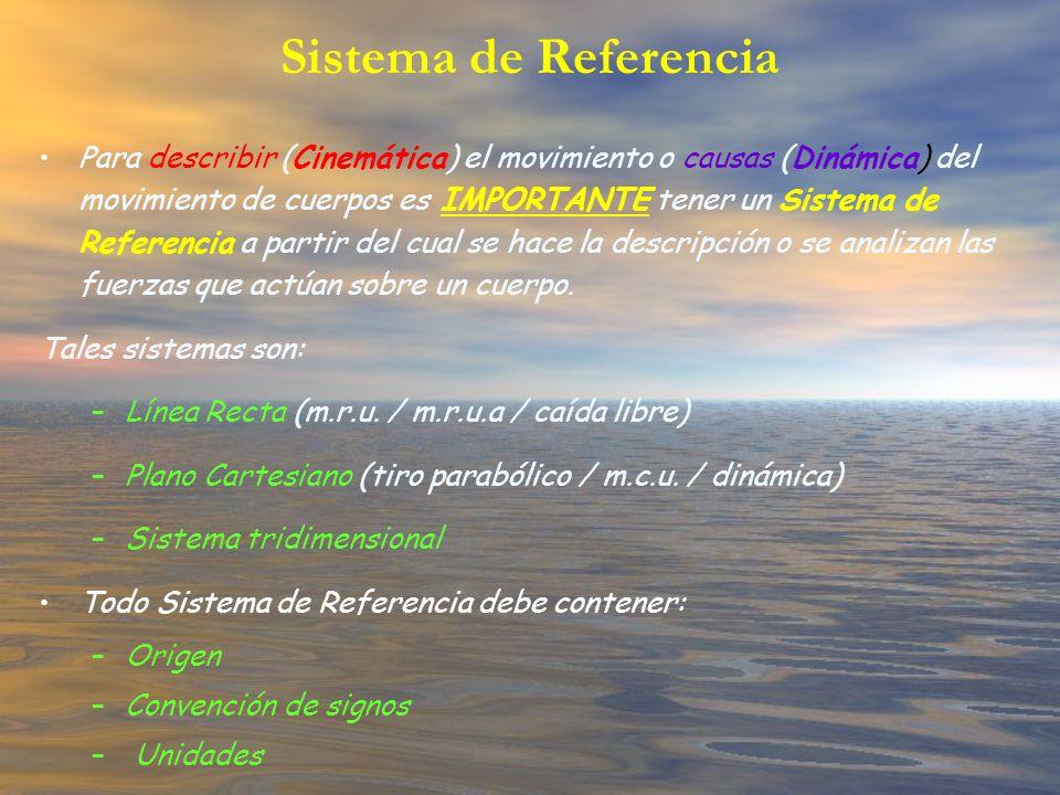 Sistema de Referencia Para describir (Cinemática) el movimiento o causas (Dinámica) del movimiento de cuerpos es IMPORTANTE tener un Sistema de Refere