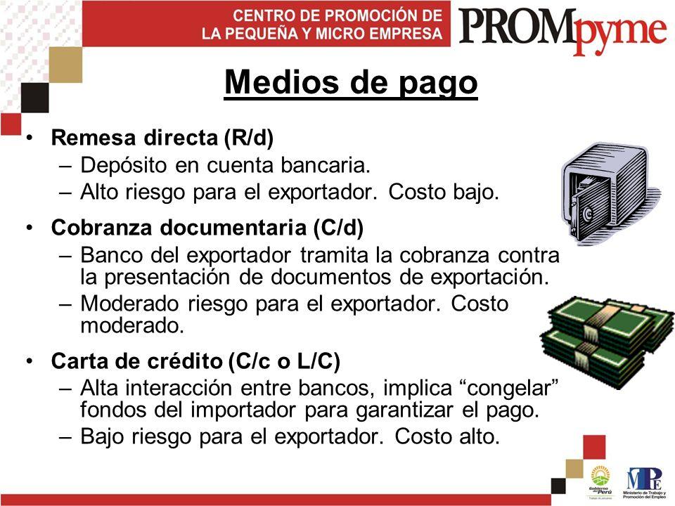 Remesa directa (R/d) –Depósito en cuenta bancaria.