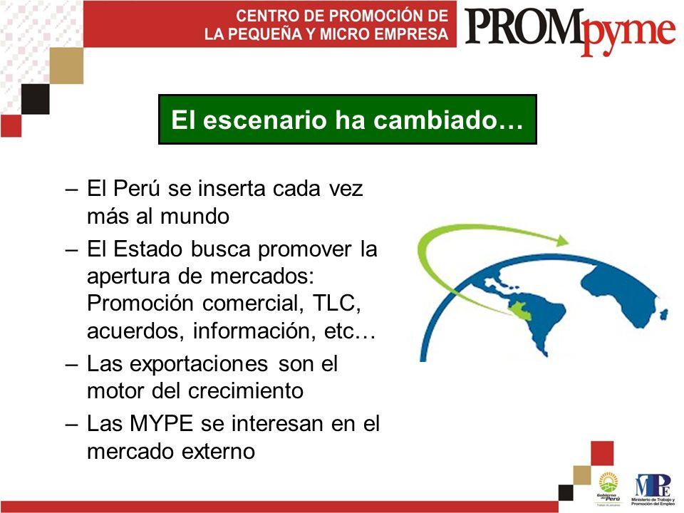 –El Perú se inserta cada vez más al mundo –El Estado busca promover la apertura de mercados: Promoción comercial, TLC, acuerdos, información, etc… –Las exportaciones son el motor del crecimiento –Las MYPE se interesan en el mercado externo El escenario ha cambiado…