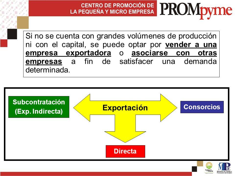 Si no se cuenta con grandes volúmenes de producción ni con el capital, se puede optar por vender a una empresa exportadora o asociarse con otras empresas a fin de satisfacer una demanda determinada.