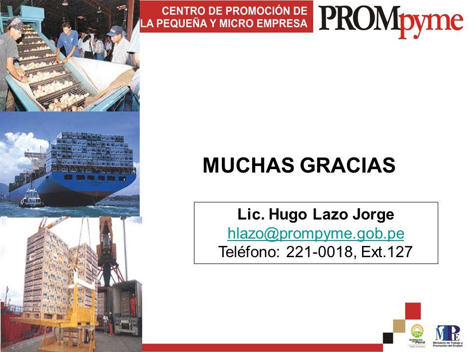 Lic. Hugo Lazo Jorge hlazo@prompyme.gob.pe Teléfono: 221-0018, Ext.127 MUCHAS GRACIAS