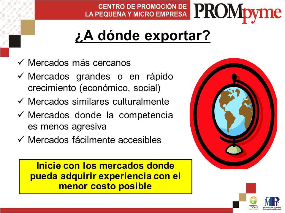 ¿A dónde exportar.