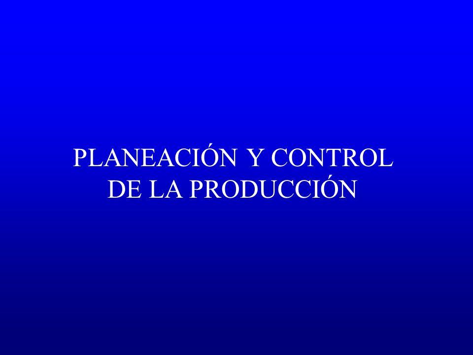 Planeación de largo plazo Planeación agregada Programación Maestra de la Producción Sistemas de Control Sistemas Push (MRP) Sistemas Pull (JIT) Sistemas Híbridos (OPT) Secuenciación de órdenes Largo Plazo (años) Mediano Plazo (6 a 18 meses) Corto Plazo (semanas a meses) Pronósticos