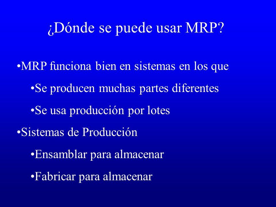 ¿Dónde se puede usar MRP? MRP funciona bien en sistemas en los que Se producen muchas partes diferentes Se usa producción por lotes Sistemas de Produc