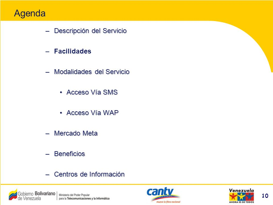 Compañía Anónima Nacional Teléfonos de Venezuela (NYSE:VNT) 10 –Descripción del Servicio –Facilidades –Modalidades del Servicio Acceso Vía SMSAcceso Vía SMS Acceso Vía WAPAcceso Vía WAP –Mercado Meta –Beneficios –Centros de Información Agenda