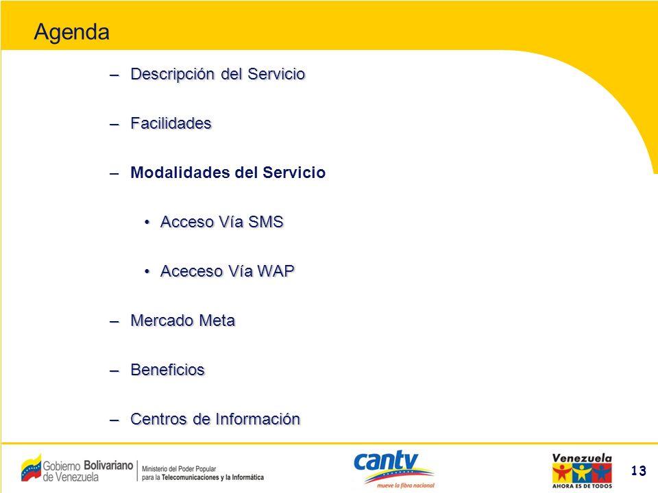 Compañía Anónima Nacional Teléfonos de Venezuela (NYSE:VNT) 13 –Descripción del Servicio –Facilidades –Modalidades del Servicio Acceso Vía SMSAcceso Vía SMS Aceceso Vía WAPAceceso Vía WAP –Mercado Meta –Beneficios –Centros de Información Agenda
