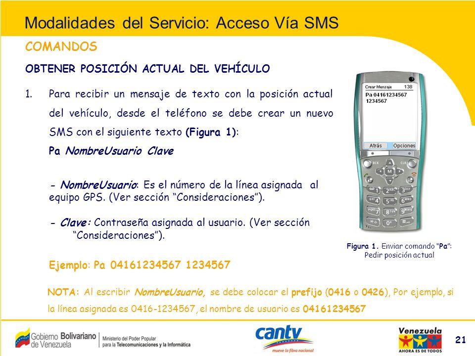 Compañía Anónima Nacional Teléfonos de Venezuela (NYSE:VNT) 21 COMANDOS 1.Para recibir un mensaje de texto con la posición actual del vehículo, desde el teléfono se debe crear un nuevo SMS con el siguiente texto (Figura 1): Pa NombreUsuario Clave - NombreUsuario: Es el número de la línea asignada al equipo GPS.