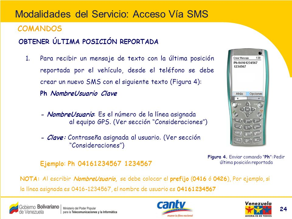 Compañía Anónima Nacional Teléfonos de Venezuela (NYSE:VNT) 24 COMANDOS 1.Para recibir un mensaje de texto con la última posición reportada por el vehículo, desde el teléfono se debe crear un nuevo SMS con el siguiente texto (Figura 4): Ph NombreUsuario Clave - NombreUsuario: Es el número de la línea asignada al equipo GPS.