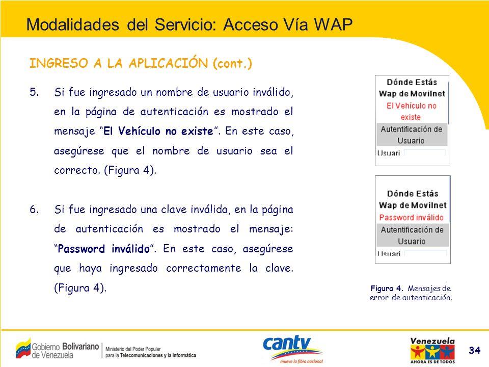 Compañía Anónima Nacional Teléfonos de Venezuela (NYSE:VNT) 34 INGRESO A LA APLICACIÓN (cont.) 5.Si fue ingresado un nombre de usuario inválido, en la página de autenticación es mostrado el mensaje El Vehículo no existe.