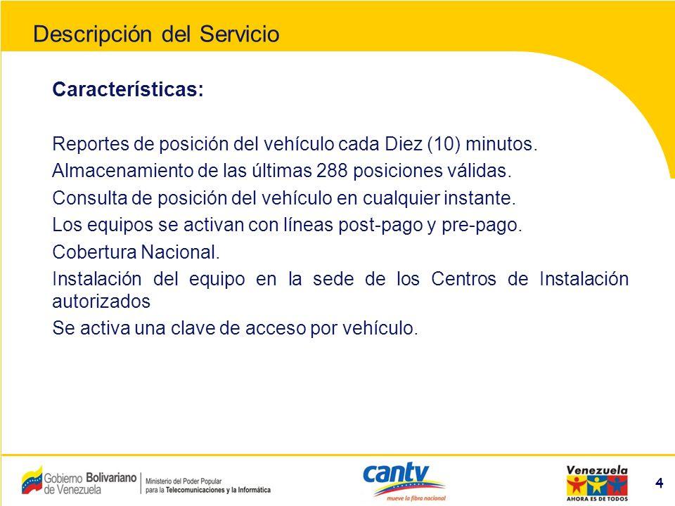 Compañía Anónima Nacional Teléfonos de Venezuela (NYSE:VNT) 55 Control de cumplimiento de rutas y horarios de entregas Mejora niveles de protección del conductor y del vehículo Servicio disponible las 24 horas Acceso al servicio vía internet, usando clave de acceso Utilización de mapas digitalizados con detalles de rutas a nivel nacional Reducción de costos operativos Beneficios