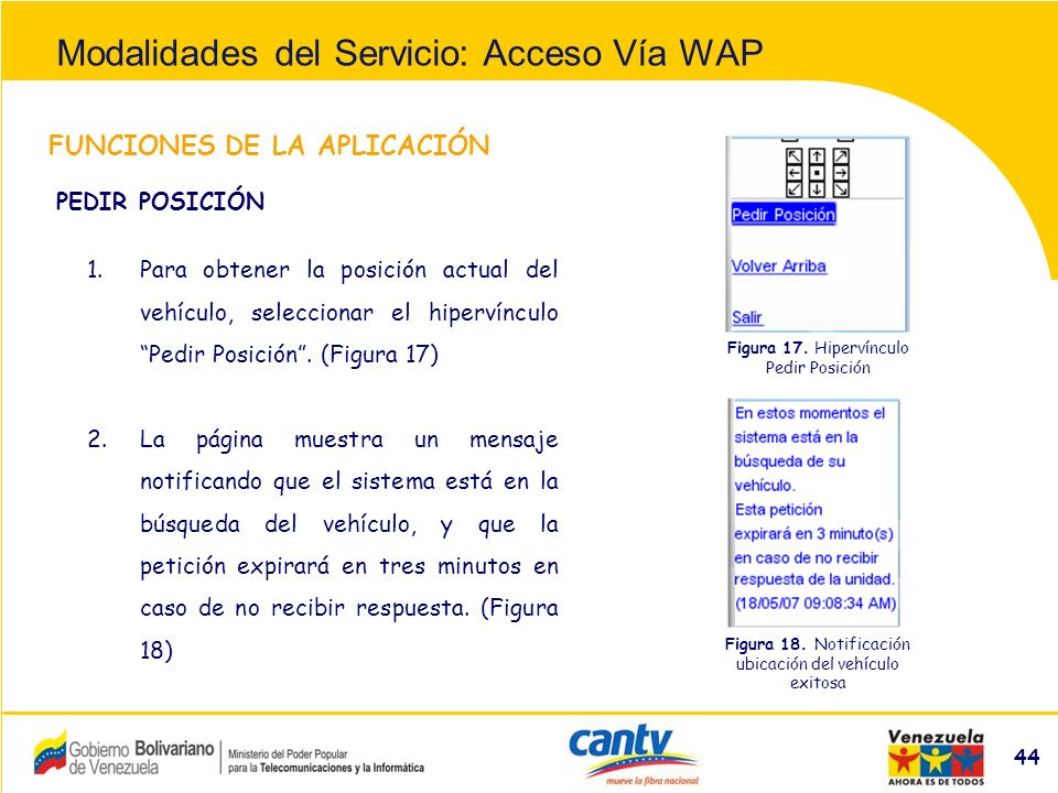 Compañía Anónima Nacional Teléfonos de Venezuela (NYSE:VNT) 44 FUNCIONES DE LA APLICACIÓN 1.Para obtener la posición actual del vehículo, seleccionar el hipervínculo Pedir Posición.