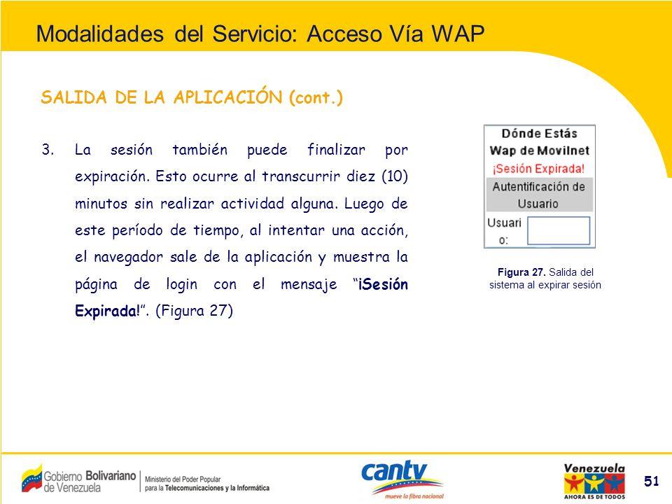 Compañía Anónima Nacional Teléfonos de Venezuela (NYSE:VNT) 51 SALIDA DE LA APLICACIÓN (cont.) 3.La sesión también puede finalizar por expiración.