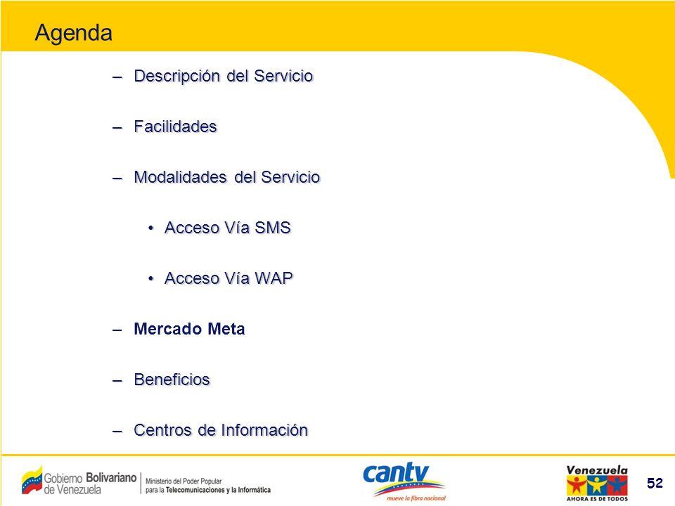 Compañía Anónima Nacional Teléfonos de Venezuela (NYSE:VNT) 52 –Descripción del Servicio –Facilidades –Modalidades del Servicio Acceso Vía SMSAcceso Vía SMS Acceso Vía WAPAcceso Vía WAP –Mercado Meta –Beneficios –Centros de Información Agenda