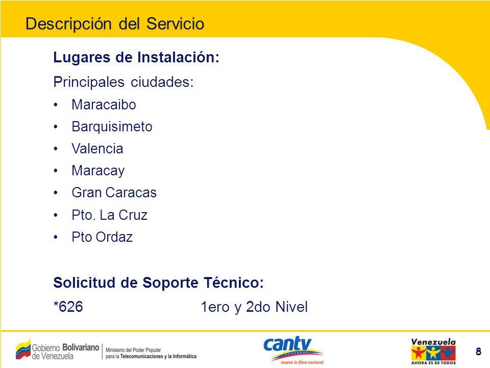 Compañía Anónima Nacional Teléfonos de Venezuela (NYSE:VNT) 9 Cobertura Descripción del Servicio