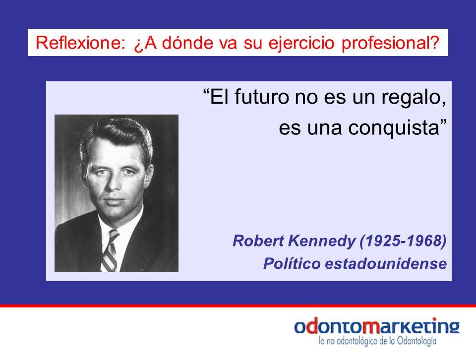 El futuro no es un regalo, es una conquista Robert Kennedy (1925-1968) Político estadounidense Reflexione: ¿A dónde va su ejercicio profesional?