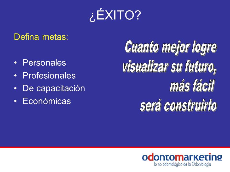 ¿ÉXITO? Defina metas: Personales Profesionales De capacitación Económicas