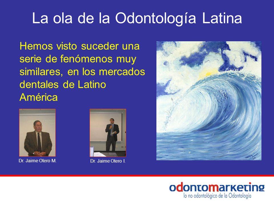 La ola de la Odontología Latina Hemos visto suceder una serie de fenómenos muy similares, en los mercados dentales de Latino América Dr. Jaime Otero M