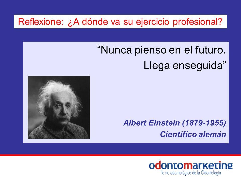 Nunca pienso en el futuro. Llega enseguida Albert Einstein (1879-1955) Científico alemán Reflexione: ¿A dónde va su ejercicio profesional?